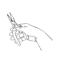Hand with pliers vector