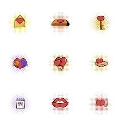 14 february icons set pop-art style vector