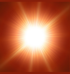 Glaring sun with lens over red vector