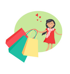 Purchasing concept with smiling girl holding packs vector