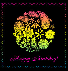 Happy birthday card with floral ball gradient vector