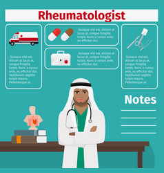 Rheumatologist and medical equipment icons vector