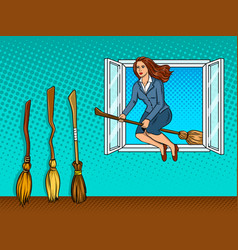 girl flies on broom in window pop art vector image