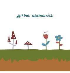 Flowers and mushrooms game element vector