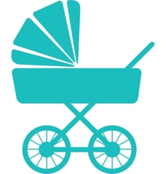 Simple icon of baby pram vector
