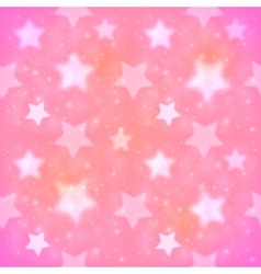 Pink blurred stars seamless pattern vector image