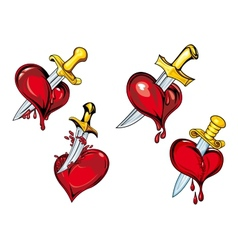 Cartoon heart with dagger tattoo design elements vector