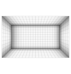 Empty futuristic room with shaded wall and grid vector