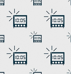 Digital alarm clock icon sign seamless abstract vector