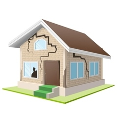 Earthquake cracked wall of house vacation home vector