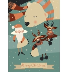 Cute polar bear hugging santa claus and reindeers vector