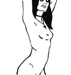 Sketch of naked woman torso vector