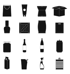 Packaging black simple icons set vector