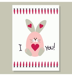 Love card with cute banny vector