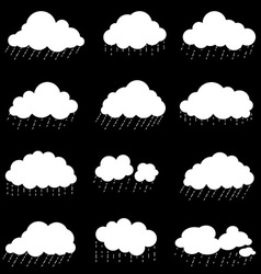 Set cloud with rain smoke element decor isolated vector