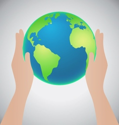 Hands holding the earth save the earth concept vector