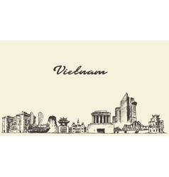 Vietnam skyline drawn sketch vector