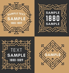 Set of four line art decorative geometric frames vector