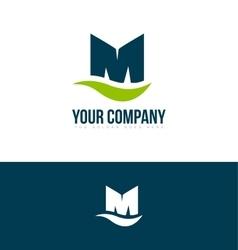Alphabet letter m green blue logo vector