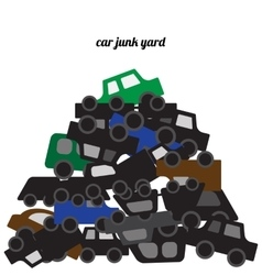 Car bodies stacked at the junkyard vector
