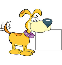 cartoon happy dog holding a sign vector image