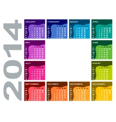 Colorful calendar 2014 vector image vector image