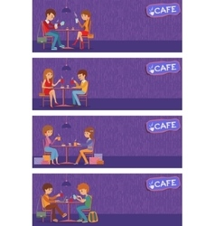 Couples of people in cafe vector image