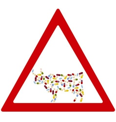 cow antibiotics forbidden sign vector image vector image