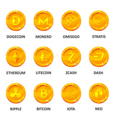 cryptocurrency coin set vector image