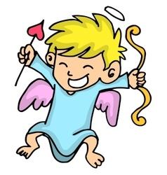 Cute cupid with arrow cartoon vector