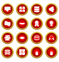 Different colorful labels icon red circle set vector