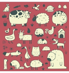 domestic and forest animals vector image vector image