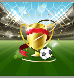 Football stadium with a ball and gold cup with vector