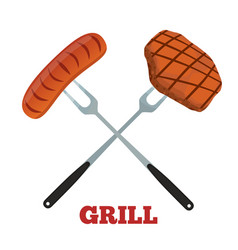 grill label pork ham and sausage barbecue fork vector image vector image