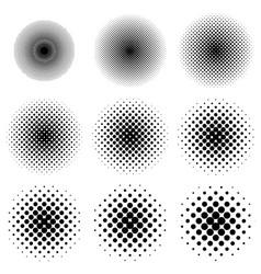 halftone circles set dot pattern halftone circles vector image