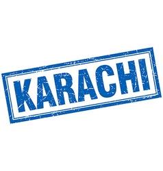 Karachi blue square grunge stamp on white vector