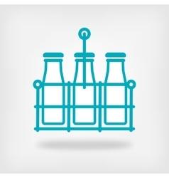 milk bottles in basket on white background vector image vector image