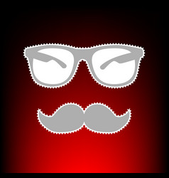 Mustache and glasses sign postage stamp or old vector