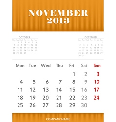 November 2013 calendar design vector image