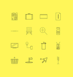 Office linear icon set simple outline icons vector