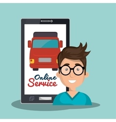 Online service man truck transport vector