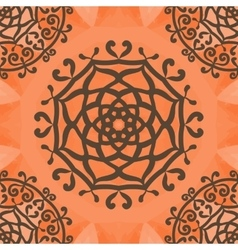 Ornamental seamless pattern on orange texture vector