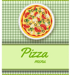 Pizza menu green vector