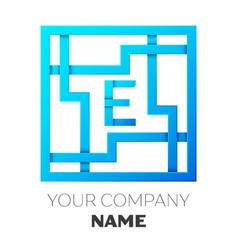 Realistic letter e logo in colorful square maze vector