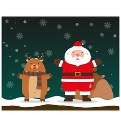 Santa Claus and reindeer raise hands standing vector image vector image