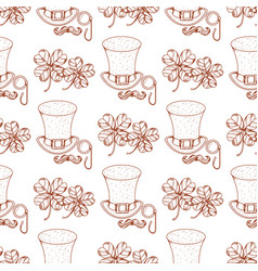 Seamless pattern with clover and hat vector