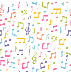 seamless pattern with music notes hand drawn vector image