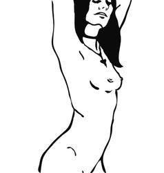 Sketch of naked woman torso vector