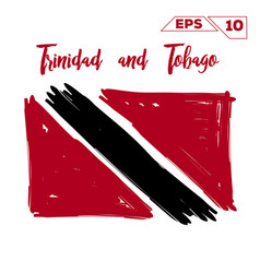 Trinidad and tobago flag brush strokes painted vector