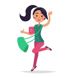 young bouncing girl student holding book with bag vector image vector image